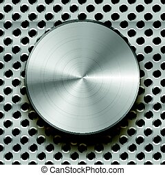 Glossy metal knob on grid