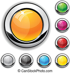 Glossy metallic buttons.