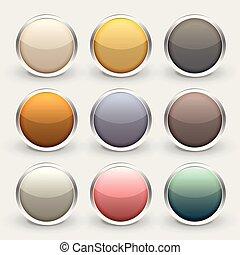 glossy metallic shiny buttons set