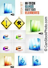 Glossy modern button surface design set