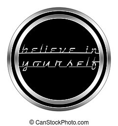 glossy motivational icon in metallic style