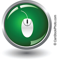 Glossy Mouse Sign Icon Button