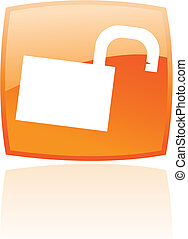 Glossy Open orange padlock
