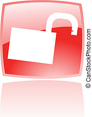 Glossy open red padlock - Glossy open padlock in red button...