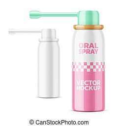 Glossy oral spray bottle template. - Glossy aluminum bottle...