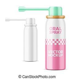 Glossy oral spray bottle template. - Glossy aluminum bottle...