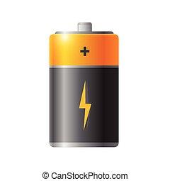 Glossy orange battery in silver look