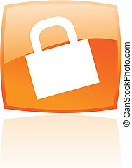 Glossy orange padlock - Glossy padlock in orange button...