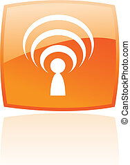 Glossy podcast in orange button isolated on white