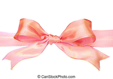Glossy Pink Bow - Closeup of pink bow on white background.