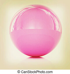 Glossy pink sphere. 3D illustration. Vintage style.