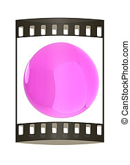 Glossy pink sphere. The film strip