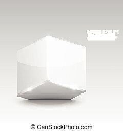 Glossy plastic cube with Glitter Graphics on the faces