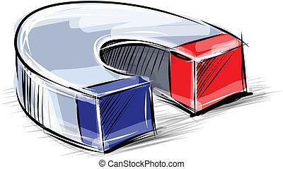Glossy polished magnet sketch vector illustration