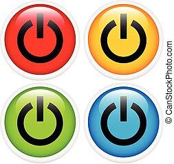 Glossy power button icon set Glossy power button icon set