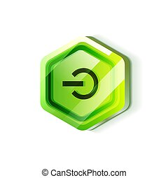 Glossy power web button, vector icon