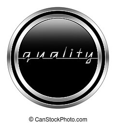 glossy quality icon in metallic style