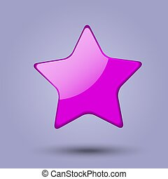 Glossy realistic pink star isolated on gray background. Colorfull web icon. Vector Illustration.