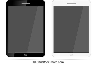Glossy realistic tablets with shadow on white
