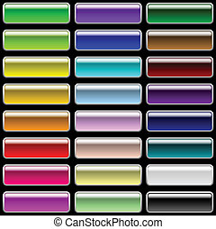 Vector set of glossy rectangular varicolored buttons for web design.