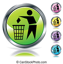 Glossy recycling sign button in different colors
