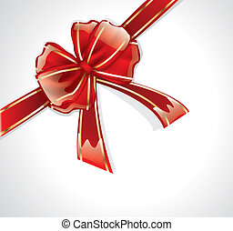 Glossy red bow with ribbons