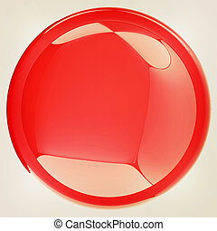 Glossy red button. 3D illustration. Vintage style.