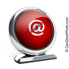 Glossy red button with at symbol. 3D illustration