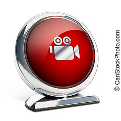 Glossy red button with camera symbol. 3D illustration