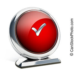 Glossy red button with checkmark symbol. 3D illustration