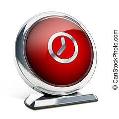 Glossy red button with clock symbol. 3D illustration