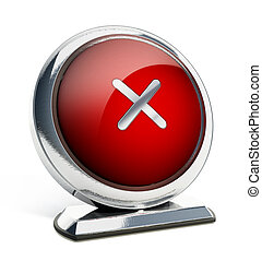 Glossy red button with cross symbol. 3D illustration