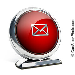 Glossy red button with enveloppe symbol. 3D illustration
