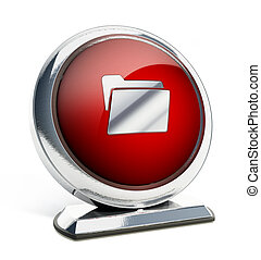 Glossy red button with folder symbol. 3D illustration