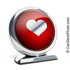 Glossy red button with heart symbol. 3D illustration