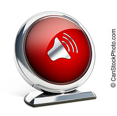 Glossy red button with speaker symbol
