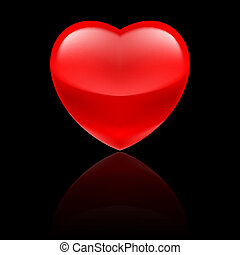 Glossy red heart on black