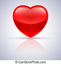 Glossy red heart on grey