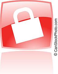 Glossy red padlock
