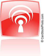 Glossy red podcast - Glossy podcast in red button isolated...