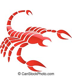 Glossy red scorpion - Glossy red scorpio isolated on white