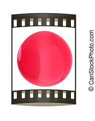 Glossy red sphere. The film strip