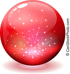 Glossy red sphere with sparks inside isolated on white.