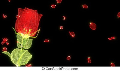 glossy rose made of shiny glass wi