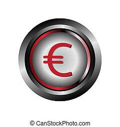Glossy round button Euro symbol