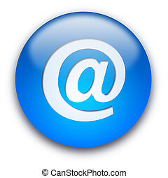 email button - Glossy round email button isolated over white...