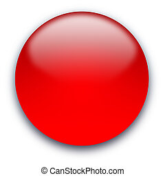Glossy round empty button isolated over white background
