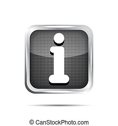 glossy round info icon button on a white background