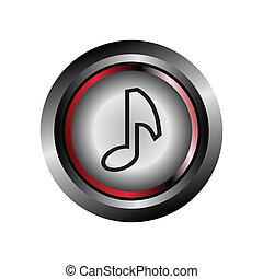 Glossy round music icon button vect