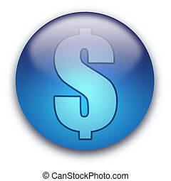 US Dollar currency button / sign